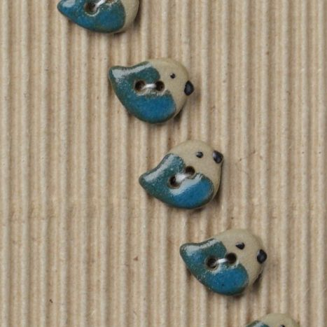 Ceramic Buttons Teal Sparrows L547