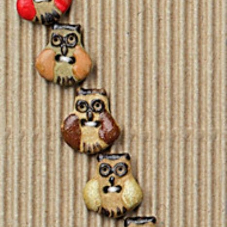 Ceramic Buttons Brown Owls L567