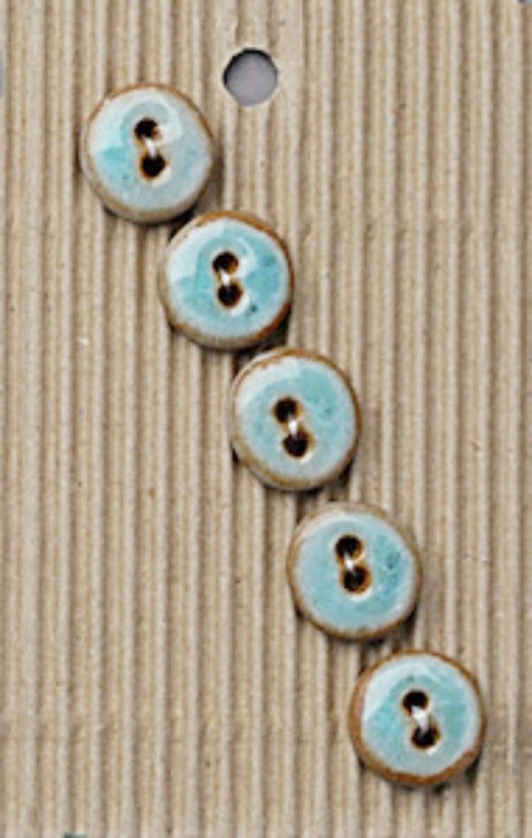 Ceramic Buttons Round Small Turquoise Glazed L574