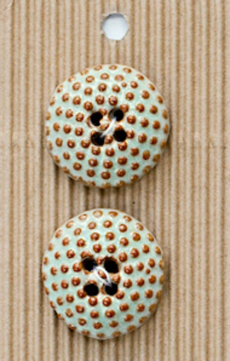 Ceramic Buttons Round Brown and Turquoise Bobble L587