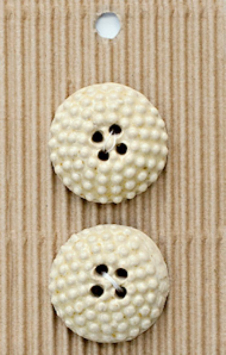 Ceramic Buttons Round Cream Bobble L588
