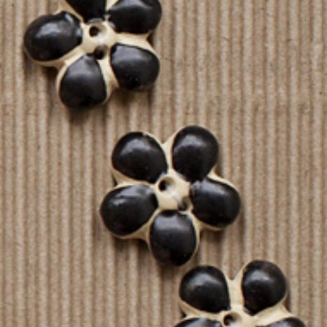 Ceramic Buttons Small Black Flowers L594