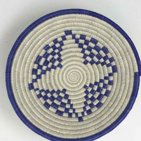 Rwandan Baskets – Bowl Summer Blue 1