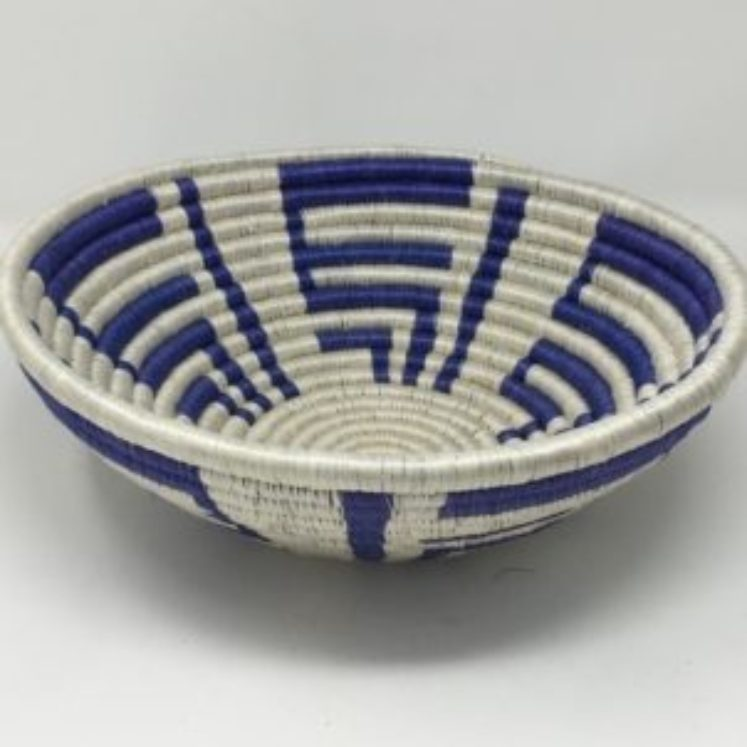 Rwandan Baskets – Bowl Summer Blue 4