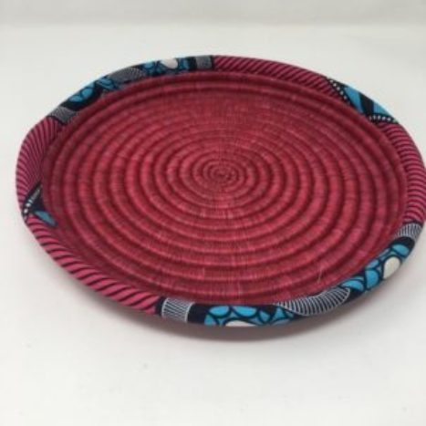 Rwandan Baskets – Raspberry Tray