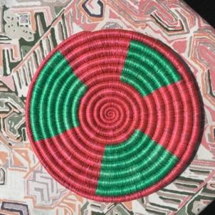 Rwandan Baskets – Raspberry and Green Trivet