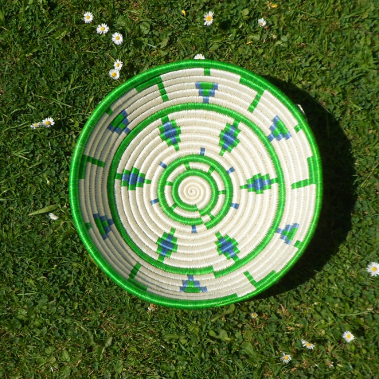 Green, white and blue bowl