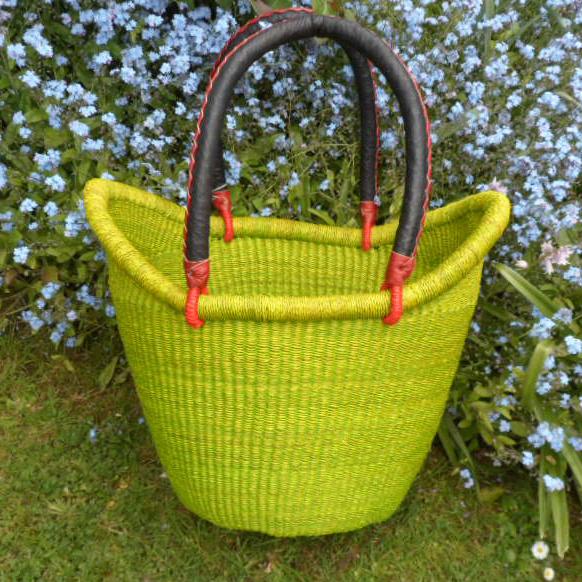 Nyariga dip dye shopping basket medium green