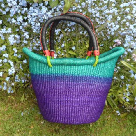 Nyariga dip dye shopping basket medium teal, blue and purple