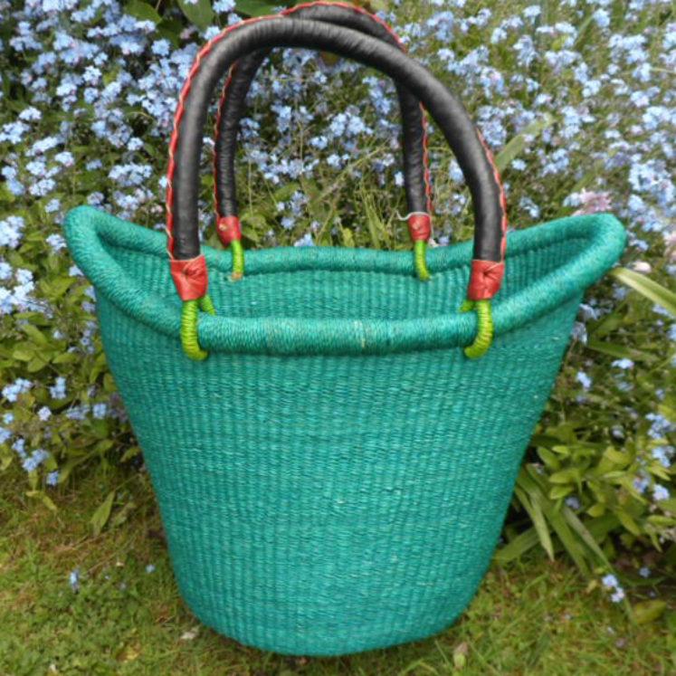 Nyariga dip dye shopping basket medium teal