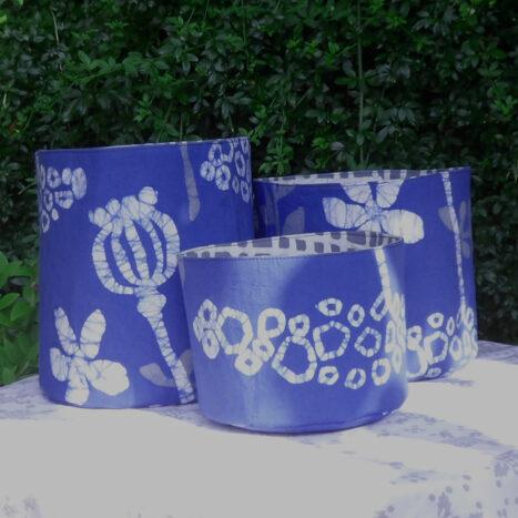 Set of three fabric bins bright blue