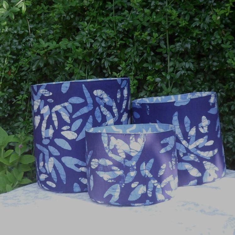 Set of three fabric bins dark blue