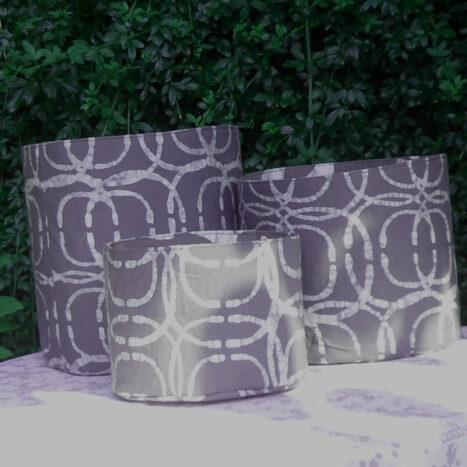 Set of three fabric bins dark grey