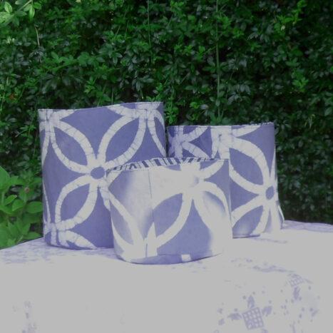 Set of three fabric bins grey floral