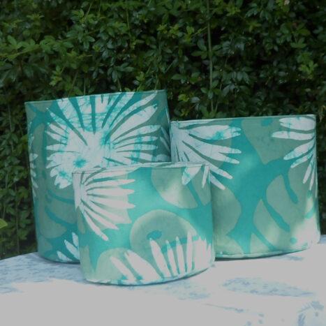 Set of three fabric bins green
