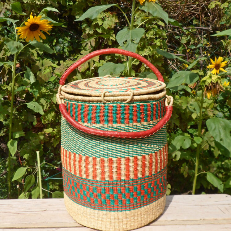 Laundry basket orange, green and natural