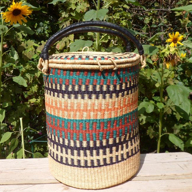 Laundry basket orange, teal, maroon, black and natural