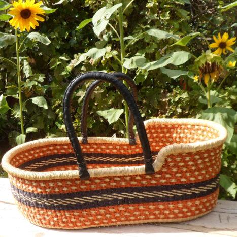 Moses basket orange, black and natural