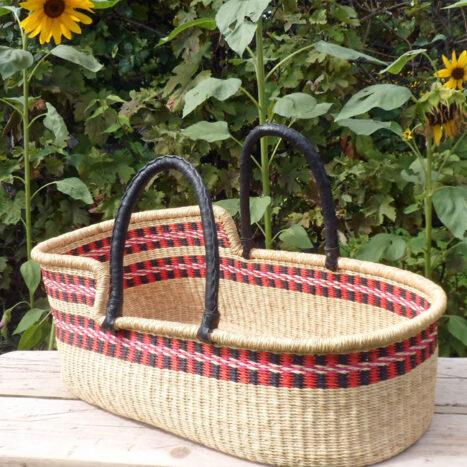 Moses basket red, black and natural