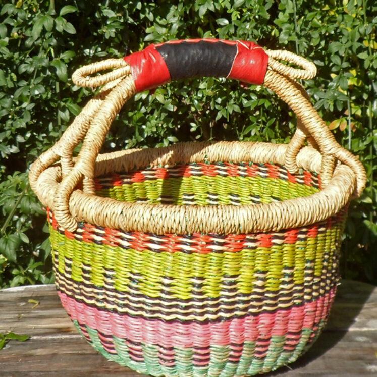 Bolga 10″ round market basket – 1