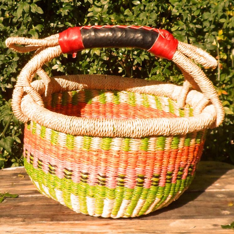 Bolga 10″ round market basket – 2