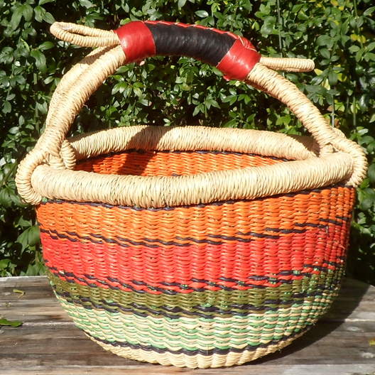 Bolga 10″ round market basket – 3