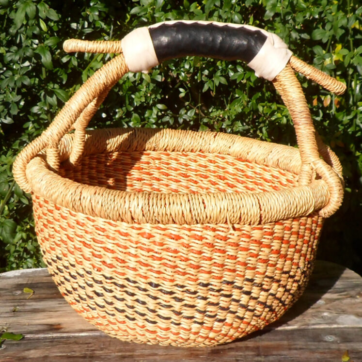 Bolga 10″ round market basket – 5