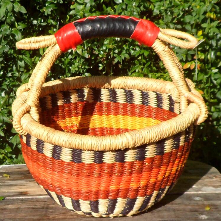 Bolga 10″ round market basket – 9