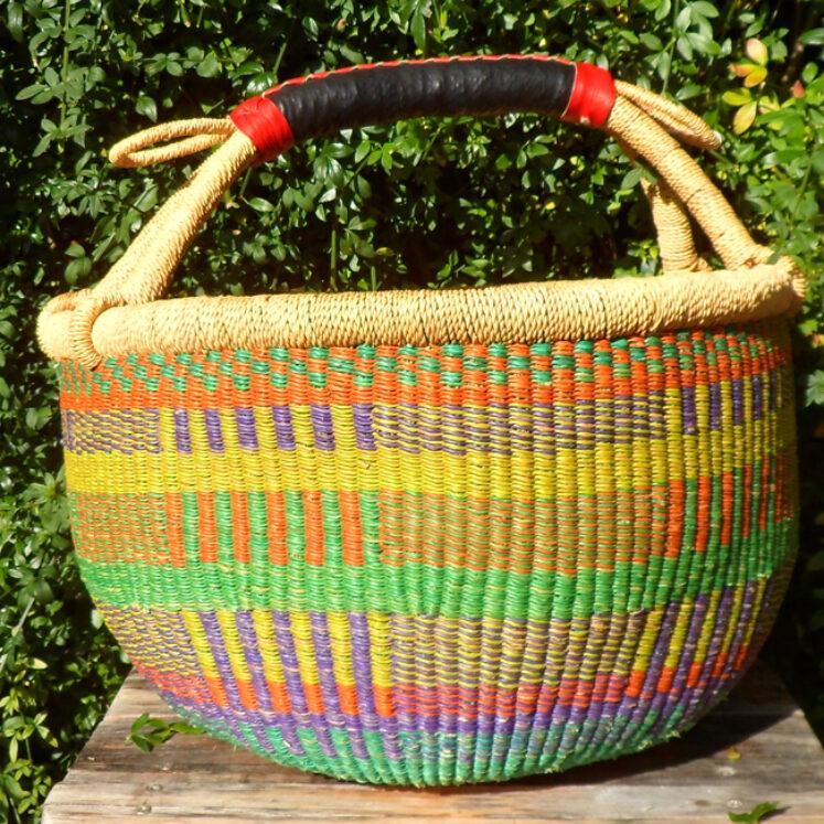 Bolga 16″ round market basket – 3