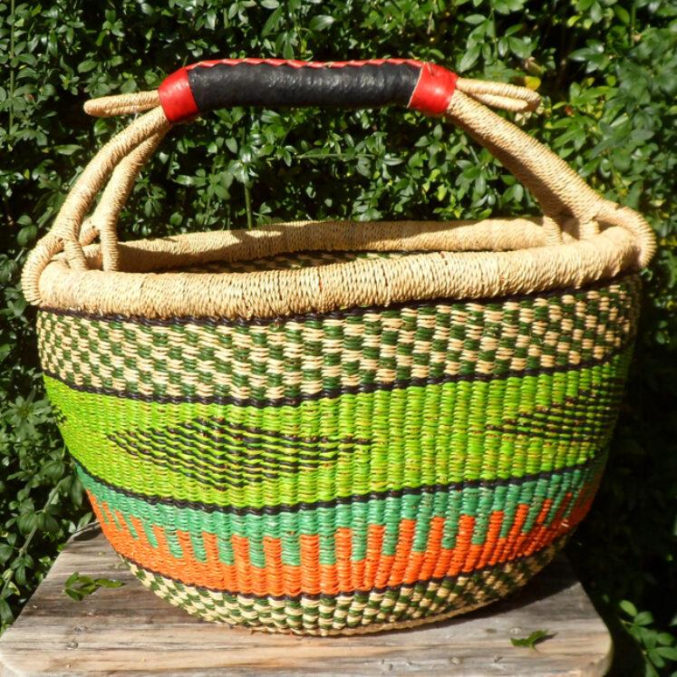 Bolga 16″ round market basket – 5