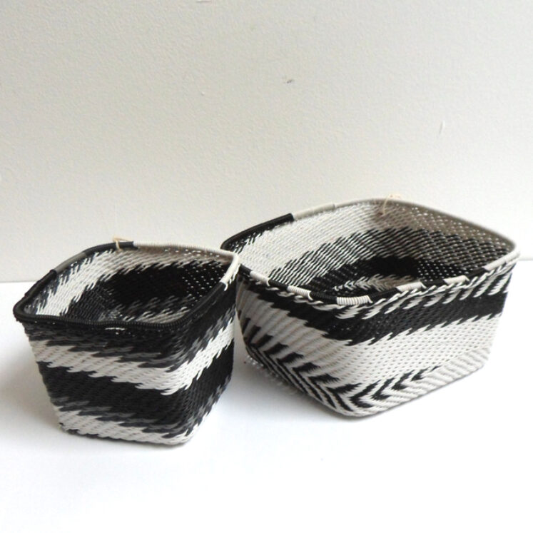 Telephone Wire Basket Black and White Square