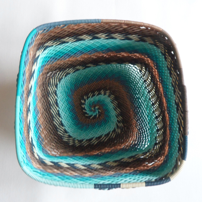 Telephone Wire Basket Turquoise and Brown Square