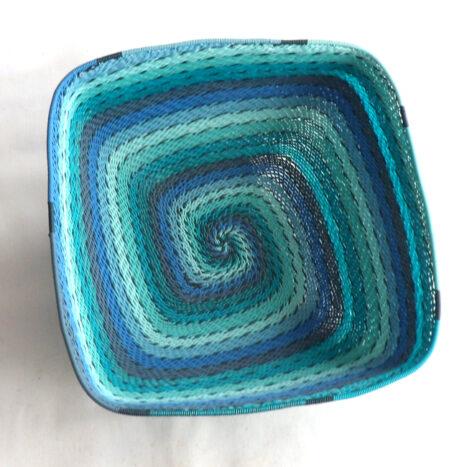 Telephone Wire Basket Bright Blue Square