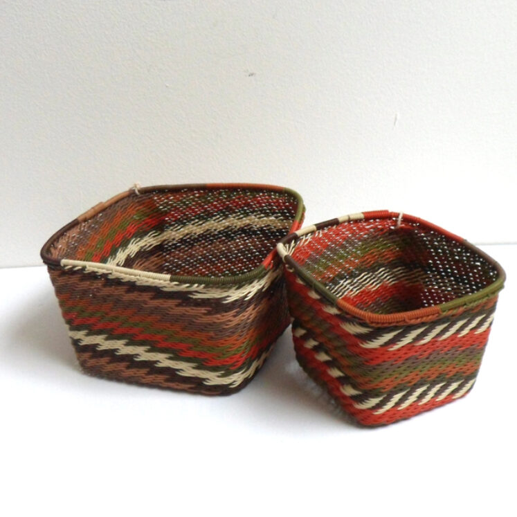 Telephone Wire Basket Orange and Browns Square