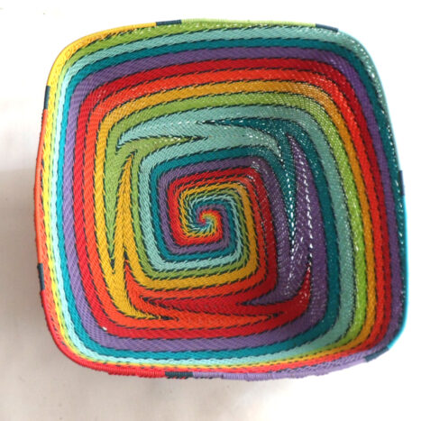 Telephone Wire Basket Rainbow Square