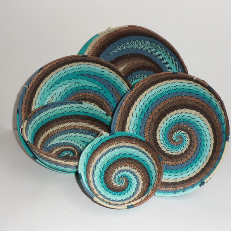 Telephone Wire Basket Turquoise and Brown